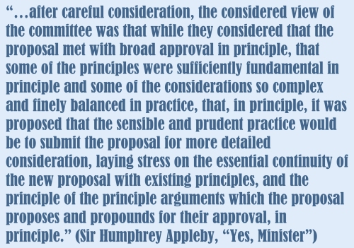 "Sir Humphrey in ""Yes, Minister"" was skilled at talking a lot but saying nothing."