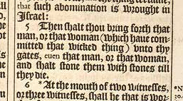 """Deuteronomy 17:5 in the original printing of the 1611 King James Version includes one of several instances of singular """"they"""" in the KJV. (Image from kingjamesbibleonline.org)"""