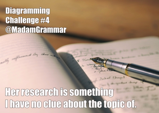 "Pen and notebook, with sentence ""Her research is something I have no clue about the topic of."""