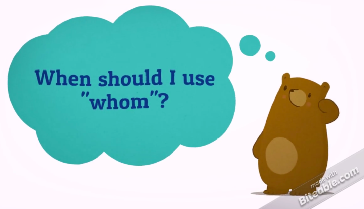 "Cartoon bear asking ""When should I use ""whom""?"